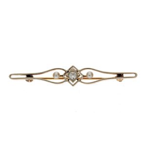 Antique 14K Yellow Gold OEC Diamond & 2 Pearl Brooch