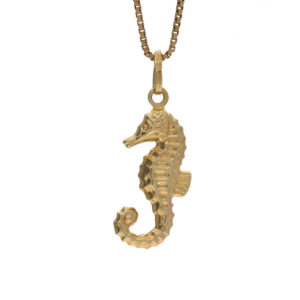 14K Yellow Gold 23mm Seahorse Charm/Pendant
