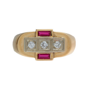 14K Yellow & White Gold Ring w/ Syn. Rectangular Cut Rubies & 3 Diamonds