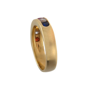 14K Yellow Gold Diamond & Gemstone Band Style Ring
