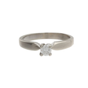 14K White Gold .15CT Diamond Solitaire Engagement Ring