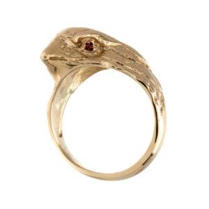 Custom Made 10K Yellow Gold Finch Head Ring with Garnet Eyes