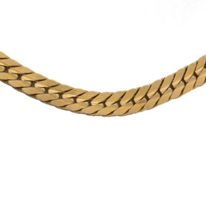 Striking 14K Yellow Gold 16.25″ Tight Curb Link Chain