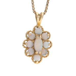 14K Yellow Gold 9 Opal Cluster Style Pendant