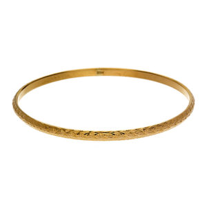 Solid 22K Yellow Gold Diamond Cut Accent Bangle