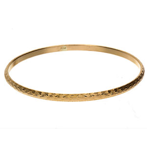 22K Yellow Gold Stylish Solid Diamond Cut Bangle