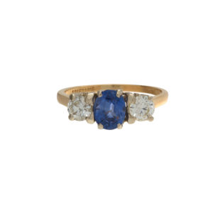 14K Yellow Gold 1.11CT Oval Sapphire & 2 Diamond Trinity Ring
