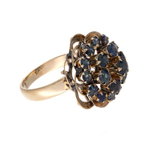 18K Yellow Gold Pagoda Style Ring w/ 19 Blue Sapphires