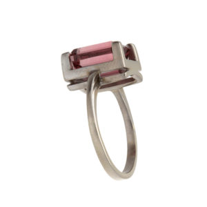 Bright 14K White Gold 4CT Emerald Cut Pink Tourmaline Ring