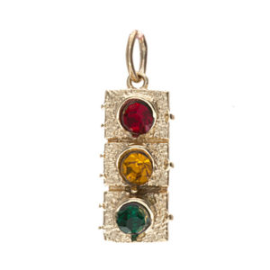 10K Yellow Gold 18.3mm Traffic Light w/ Rhinestones Charm/Pendant