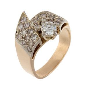 Designer 14K Yellow Gold Ring w/ 24 Diamonds 1.12TDW