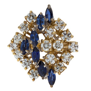 Shimmering 18K Yellow & White Gold Diamond & Sapphire Cluster Ring