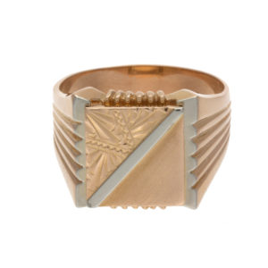 18K Yellow Gold Signet Style Ring w/ White Gold Accents