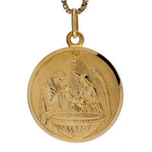 UnoAErre 18K Yellow Gold Religious Baptism Disc Pendant