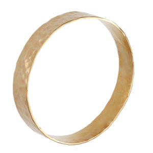 10K Yellow Gold 12mm Hammered Finish Bangle