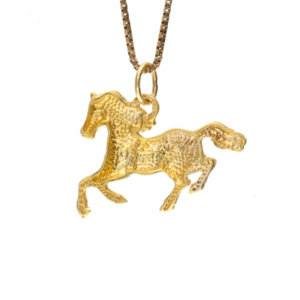 14K Yellow Gold 26mm Galloping Horse Pendant