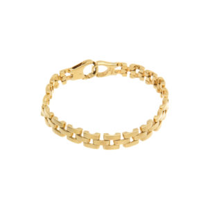 18K Yellow Gold 7.5″ Triple Row Brick Pattern Link Bracelet