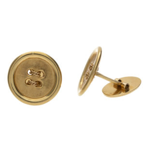 18K Yellow Gold Round Button Style Cufflinks