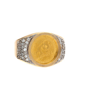 14K Yellow Gold 1/20 OZ Fine Gold 5 Yuan Chinese Panda Coin Ring