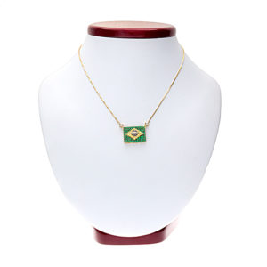18K Yellow Gold Necklace with Multi Gemstone Brazilian Flag Pendant