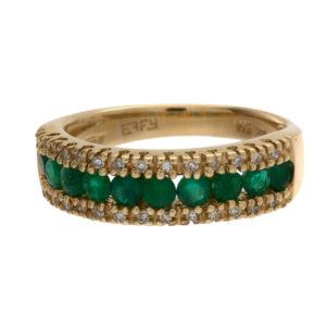 EFFY 14K Yellow Gold 10 Emerald & 26 Diamond Band