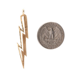 10K Yellow Gold 51mm Diamond Cut Lightning Bolt Pendant