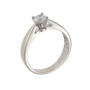 18K + Platinum .58CT Canadian Diamond Solitaire Engagement