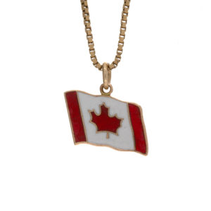 10K Yellow Gold Enamelled Canadian Flag Charm/Pendant