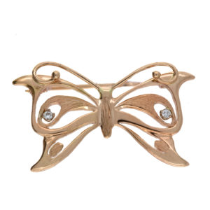 14K Yellow Gold 2 Diamond Accent Butterfly Brooch