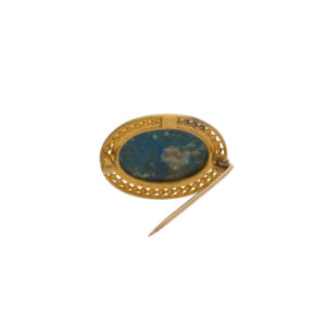 Vintage 14K Yellow Gold Oval Eilat Stone Brooch