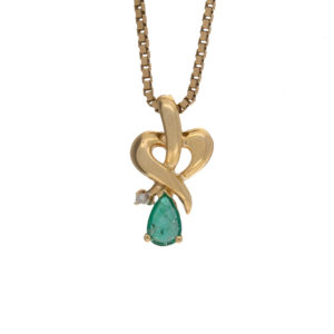 14K Yellow Gold 6mm Pear Cut Emerald & Diamond Pendant