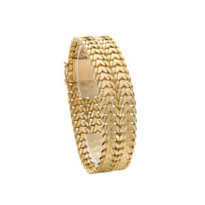 Gorgeous 18K Yellow Gold 17mm Wide Weave Link Bracelet