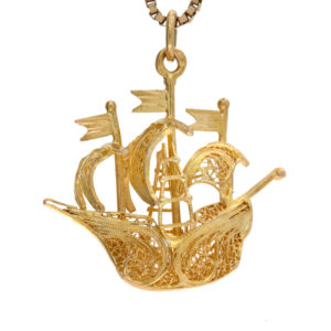 .800 Yellow Gold 3D Filigree Pirate Ship Pendant/Charm