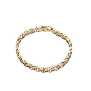 Striking 14K Yellow Gold Wave & White Gold Bar Link Bracelet
