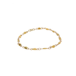 10K Yellow Gold & Natural Nugget Link 8″ Bracelet