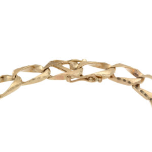 10K Yellow Gold 9″ Diamond Cut Square Curb Link Bracelet