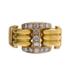 Custom Made 18K Yellow + White Gold 13 Diamond Ring