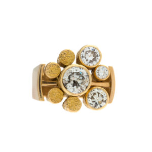 Custom Made 18K Yellow Gold 4 Bezel Set Diamond Ring