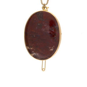 Vintage 10K Yellow Gold Red Mossy Agate Brooch/Pendant