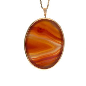 10K Yellow Gold Classic Oval Agate Brooch-Pendant