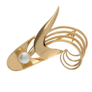 BIRKS 14K Yellow Gold Abstract Brooch w/ 1 Cultured Pearl