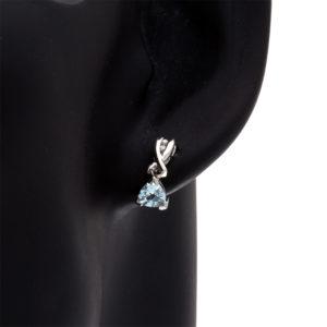 Pair of 10K White Gold Trilliant Cut Aquamarine + Diamond Dangle Stud Earrings