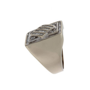 14K White Gold 85 Diamond 2.22 TDW Signet Style Ring