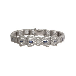 14K White Gold 7″ Art Deco Sapphire & Diamond Filigree Bracelet