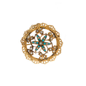 Antique 9CT Seed Pearl & Turquoise Floral Brooch