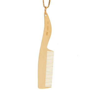 Stylish 14K Yellow Gold 70mm Moustache Comb