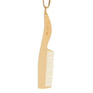 Stylish 14K Yellow Gold 70mm Eyelash Comb