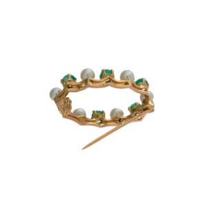 18K Yellow Gold 6 Cabochon Cut Emerald & 6 Cultured Pearl Brooch