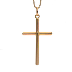 Polished 14K Yellow Gold 52mm Pipe Style Cross Pendant