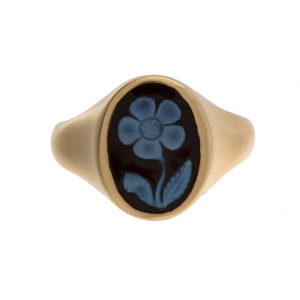 14K Yellow Gold Oval Black & White Agate & Chalcedony Floral Ring
